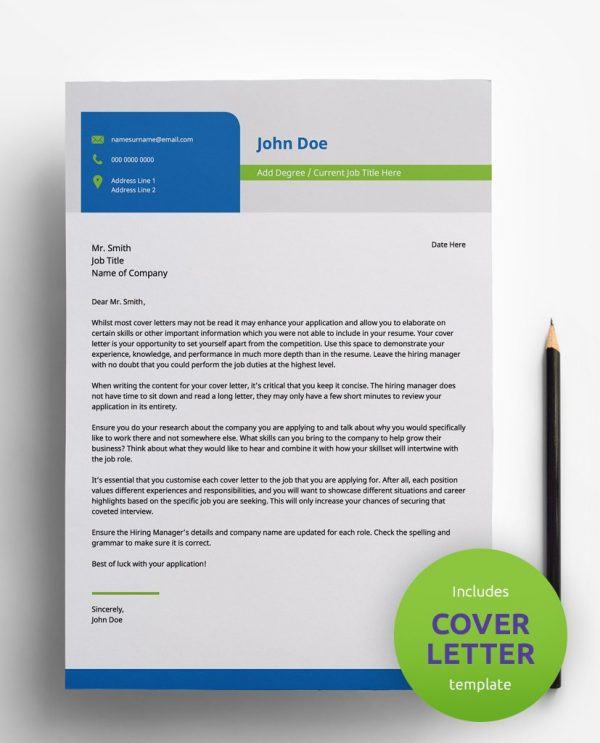 Diy My Design professional light blue, light green, grey and white PDF cover letter template and a round green banner stating that the pack includes a cover letter with the CV resume template.