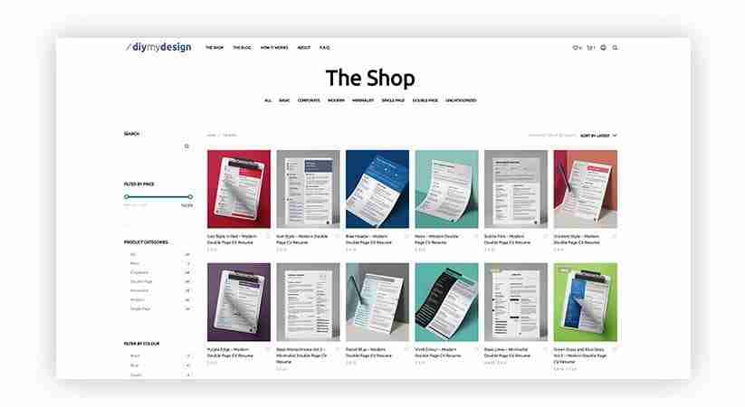 A screenshot of the Diy My Design online store web page showing a selection of multicolored resume and CV templates.