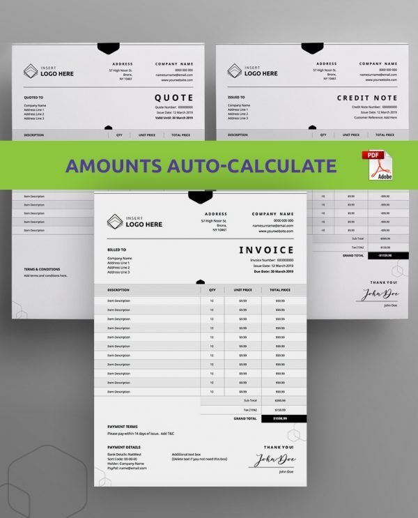 business invoice, quote, and credit note pdf order form bundle