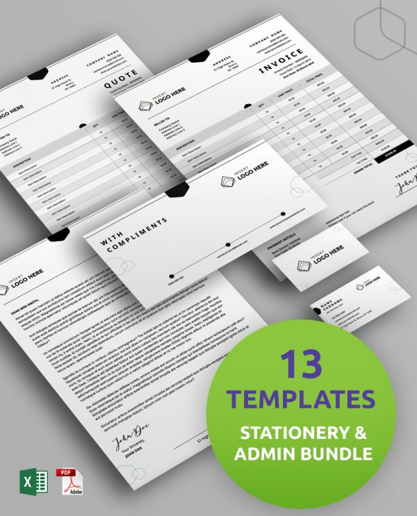 A Diy My Design bundle of stationery and admin templates including a letterhead template, a business card template, and a compliments slip template.