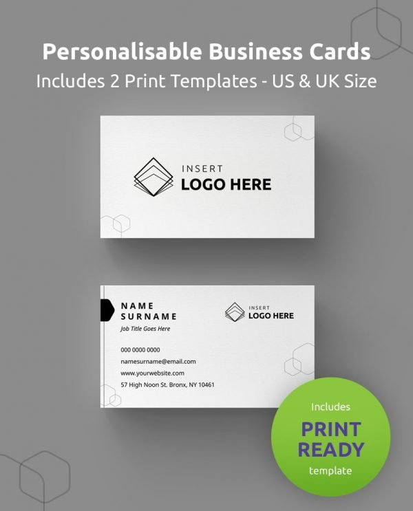 "A Diy My Design personalized business card template showing where to upload your logo and edit your details. Green round banner stating ""includes print ready"" and ""includes US and UK size""."