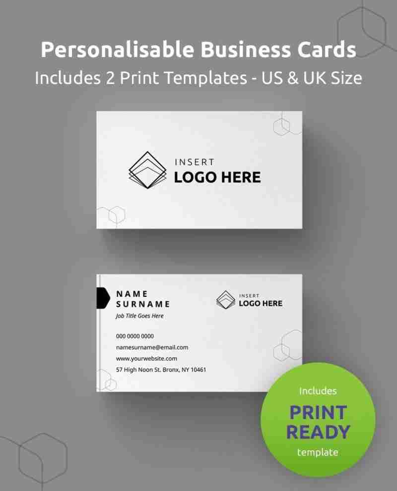 """A Diy My Design personalized business card template showing where to upload your logo and edit your details. Green round banner stating """"includes print ready"""" and """"includes US and UK size""""."""