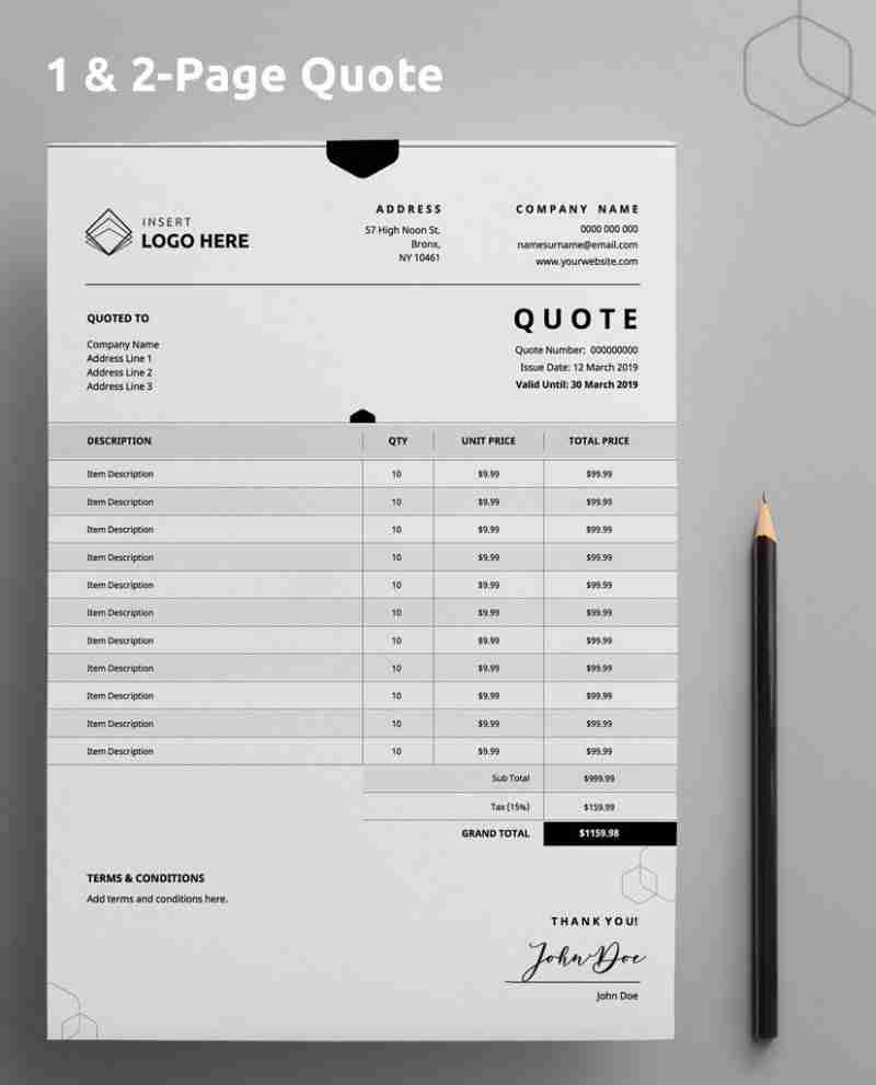 """A Diy My Design quotation template with """"one and two page quote"""" stated at the top and a brown pencil on the right hand side."""