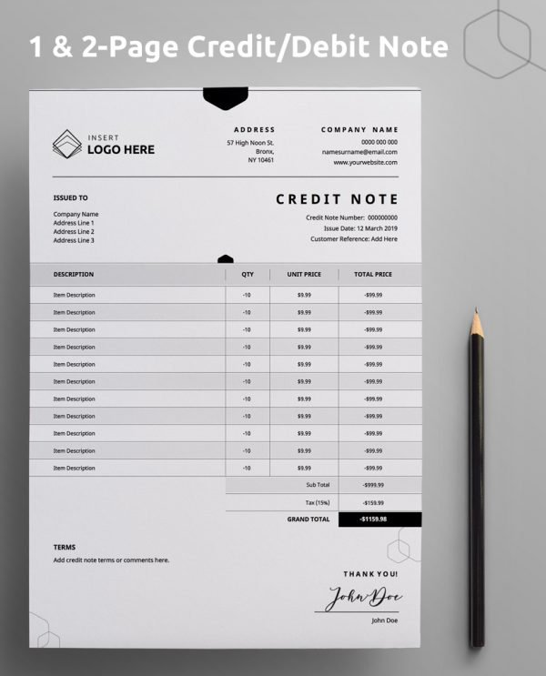 """A Diy My Design credit note template with """"one and two page credit note / debit note"""" stated at the top and a brown pencil on the right hand side."""