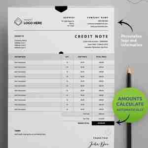 "A Diy My Design credit note template with ""one and two page credit note / debit note"" stated at the top and a brown pencil on the right hand side."