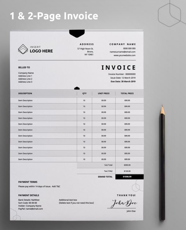 "A Diy My Design invoice template with ""one and two page invoice"" stated at the top and a brown pencil on the right hand side."