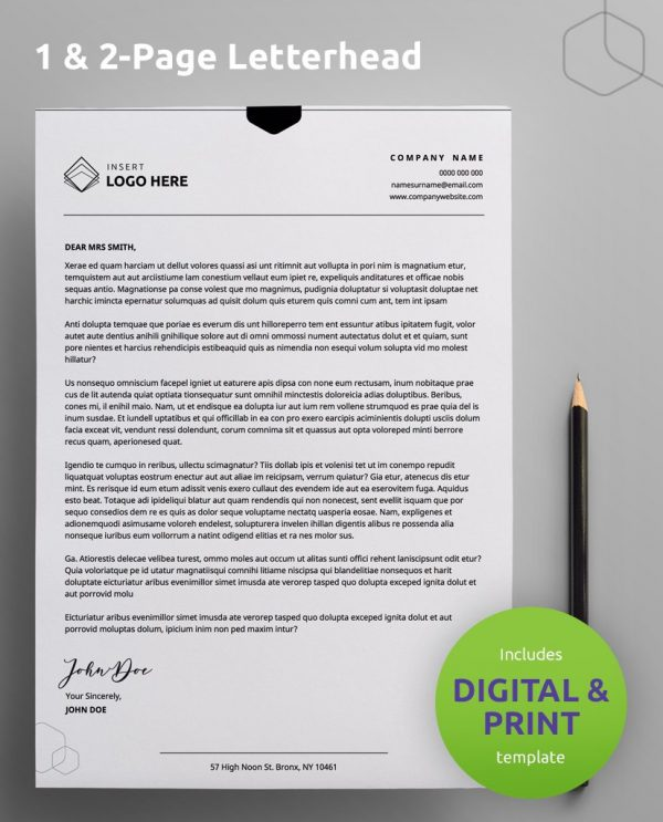 "A Diy My Design letterhead template sample with a green round banner stating ""includes digital & print template"" and ""one or two page letterhead"" at the top."