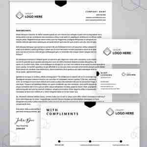 A stationery template bundle including a single page letterhead template, a double page letterhead, a business card template, and a compliments slip template.