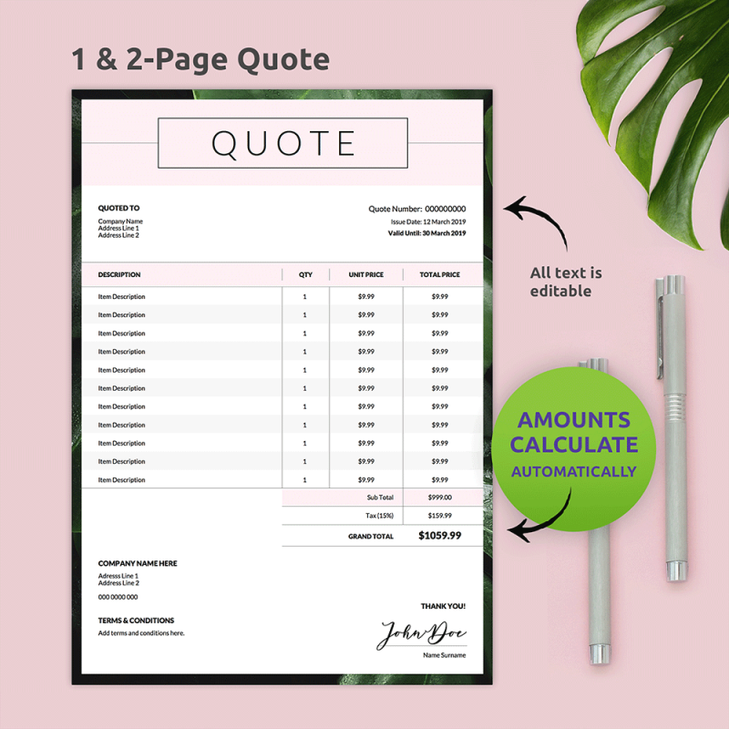 Editable Business Quote