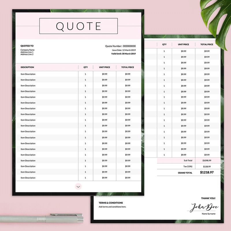 Company Quotation Double Page