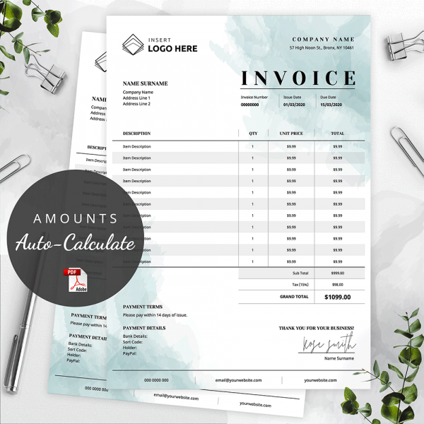 Teal Watercolour Invoice Template