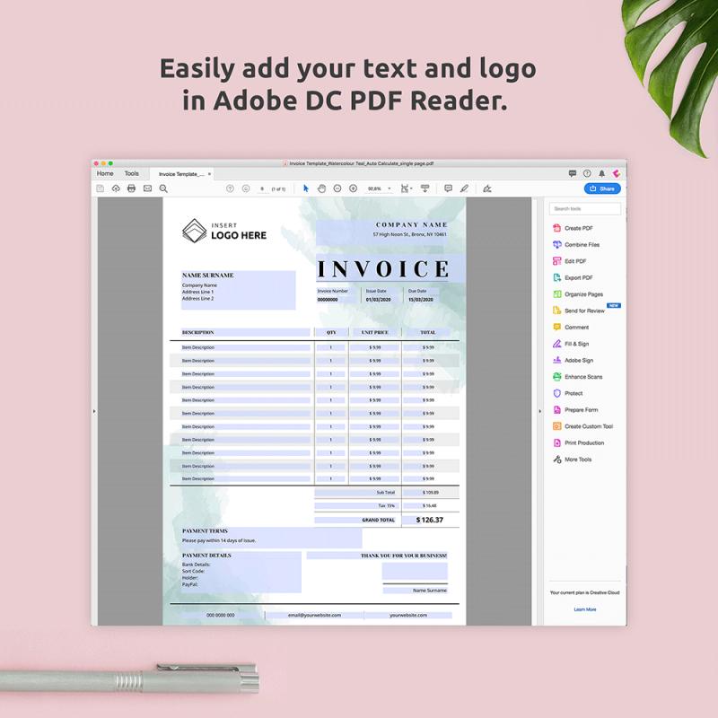 Editable PDF Invoice Template