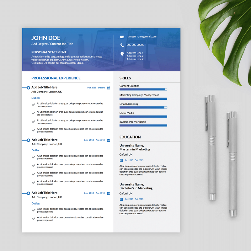 modern blue white and grey ms word cv template