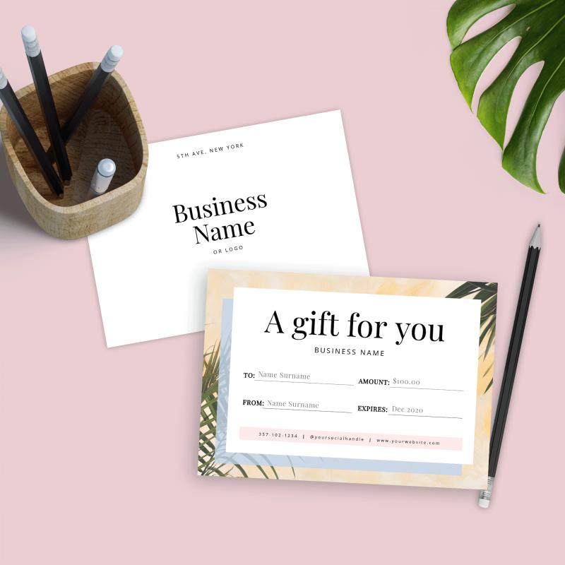 voucher template with minimalist summer theme