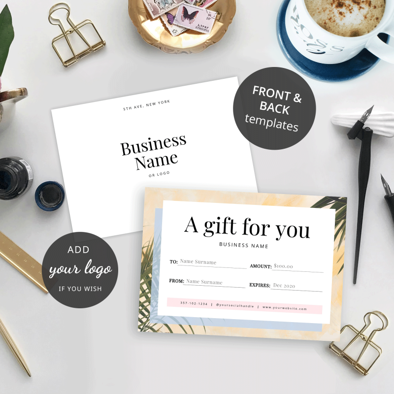 front and back gift certificate