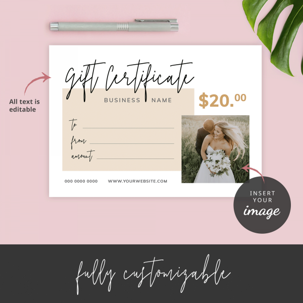 gift certificate with image