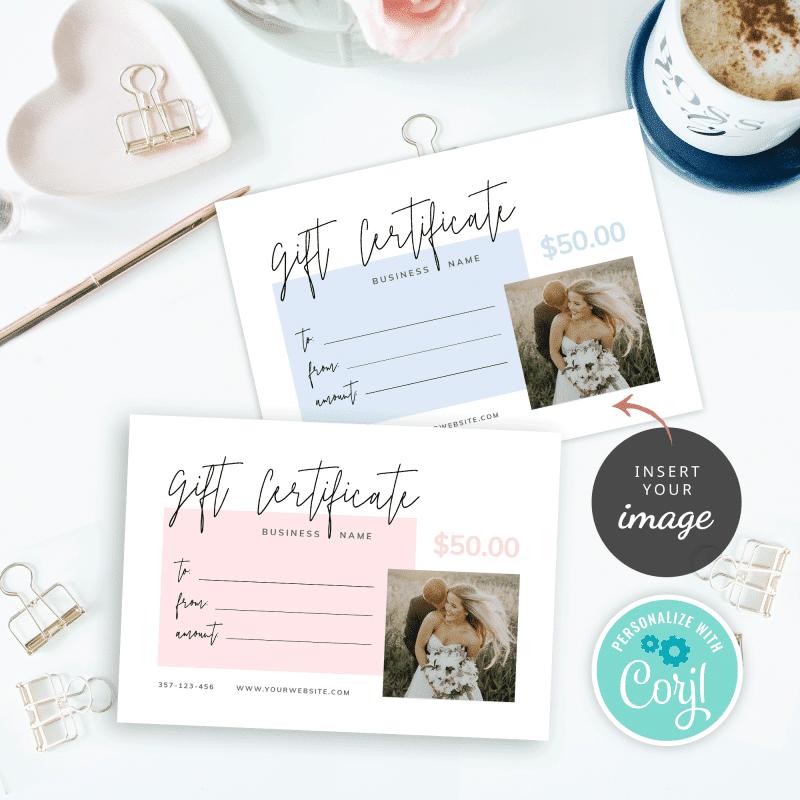 minimalist printable gift certificates