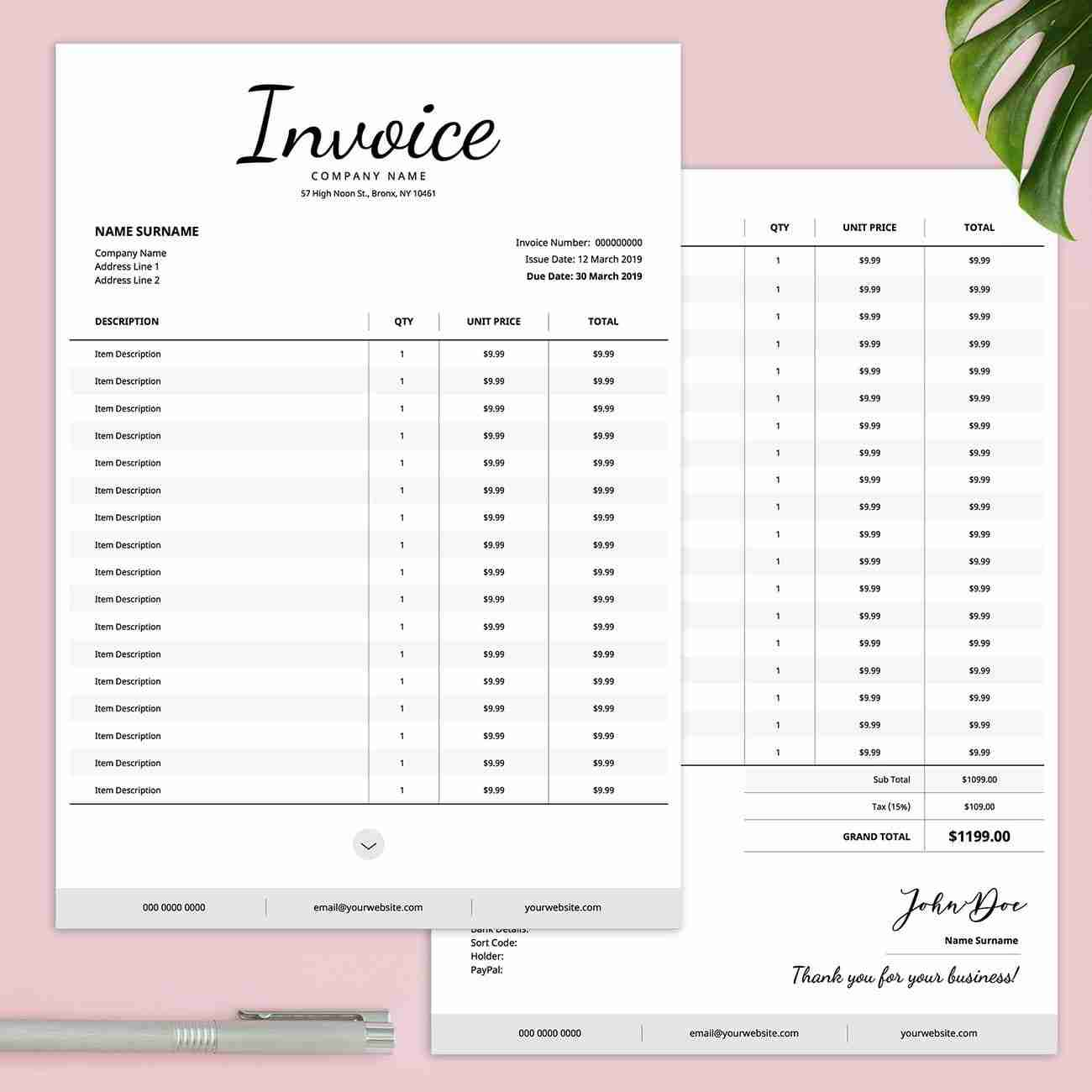 Editable Invoice Template from www.diymydesign.com