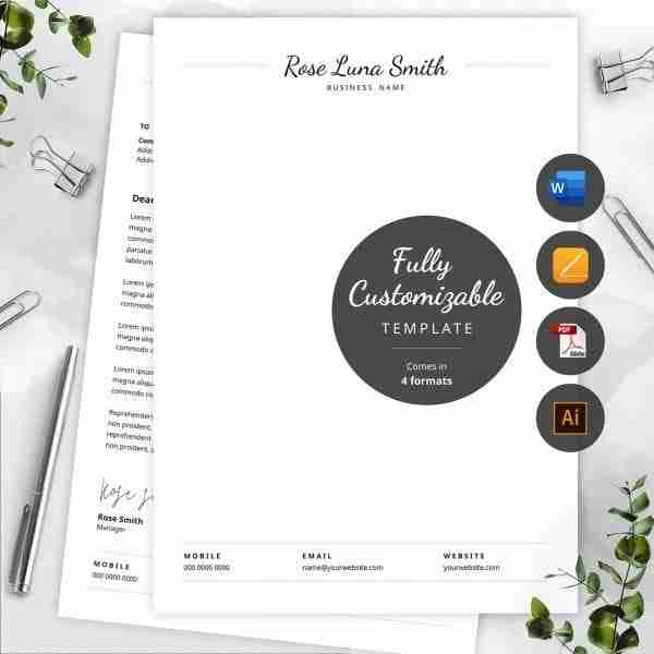 editable word letterhead template with handritten font.