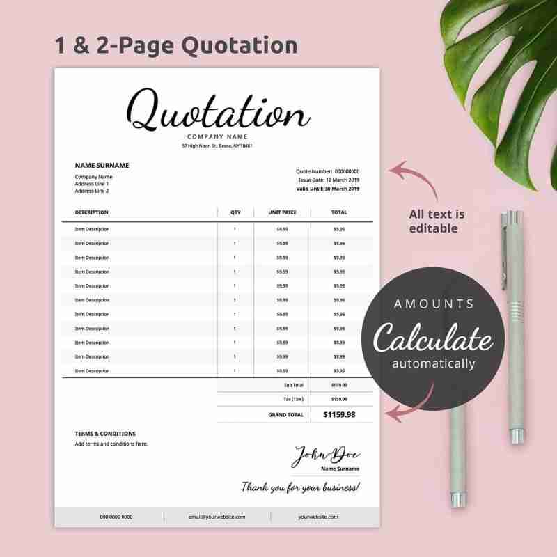 Editable business quotation template with handwritten font.
