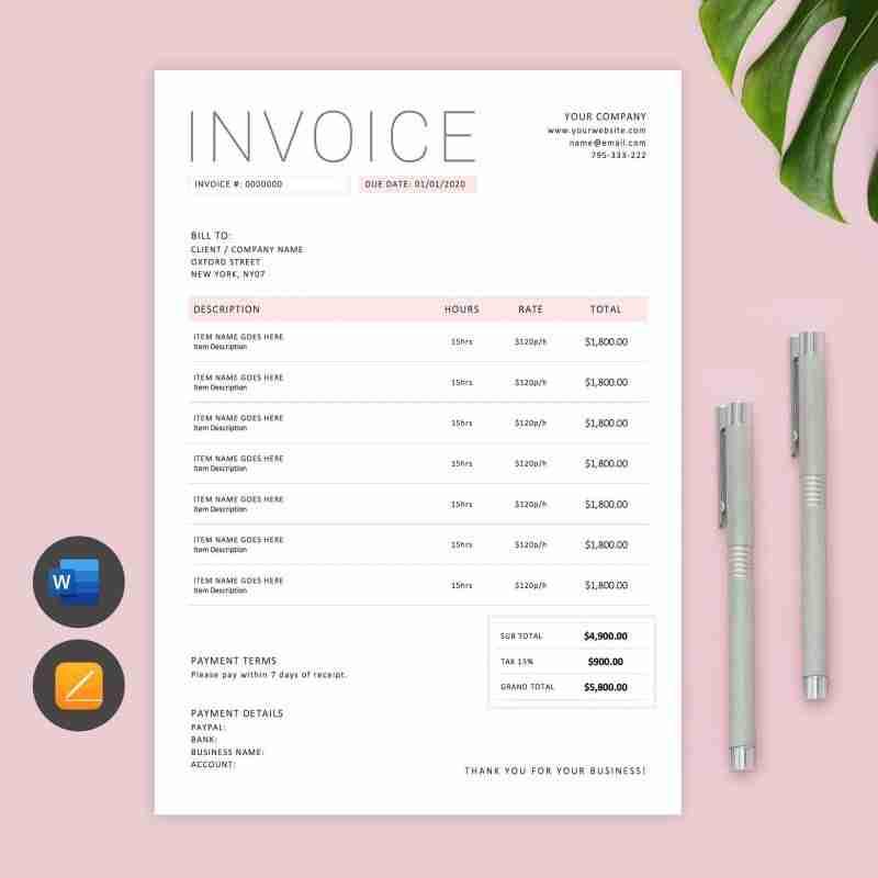 minimalist pink ms word invoice template