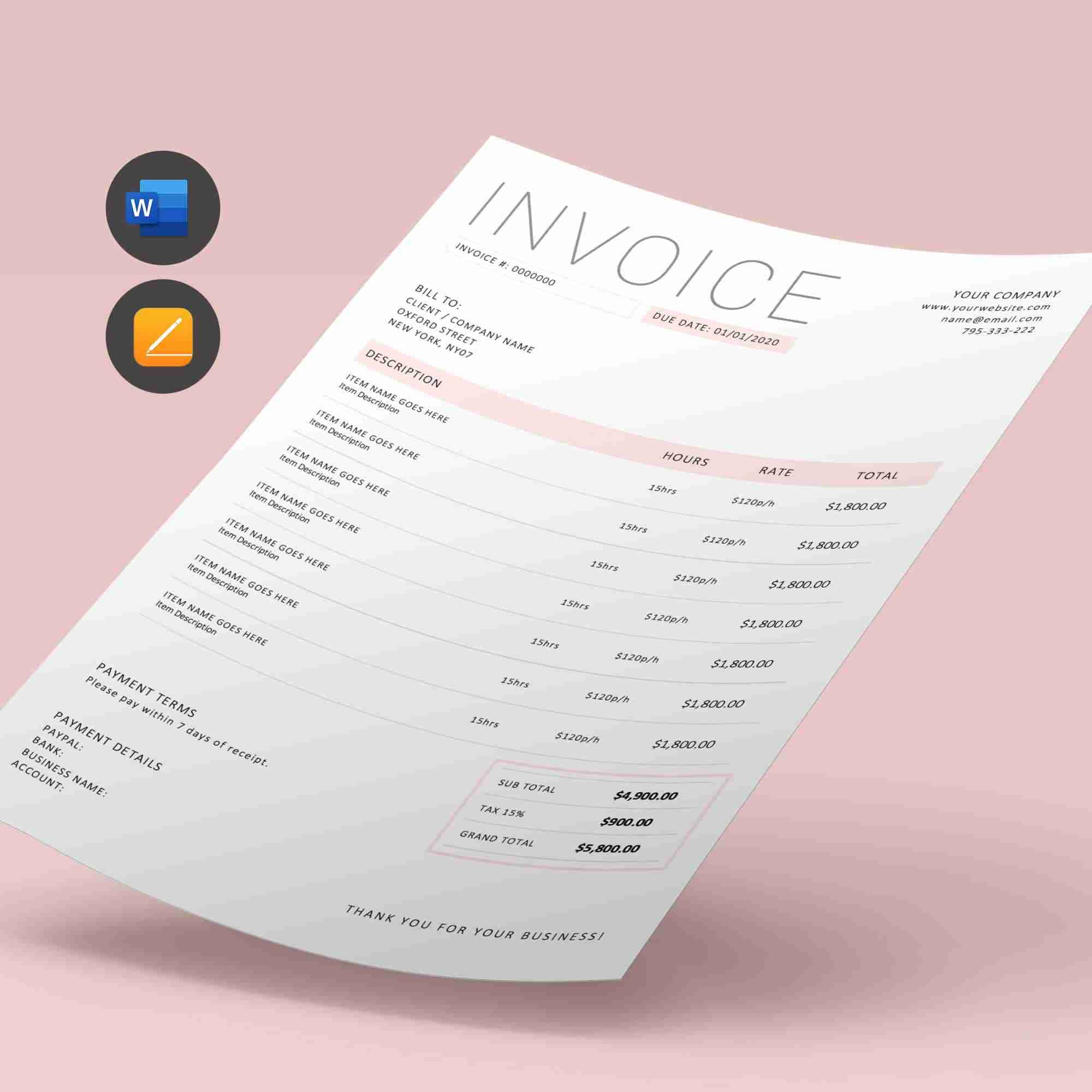 Word Invoice Template Minimalist Business Order Form Edit Ms Word