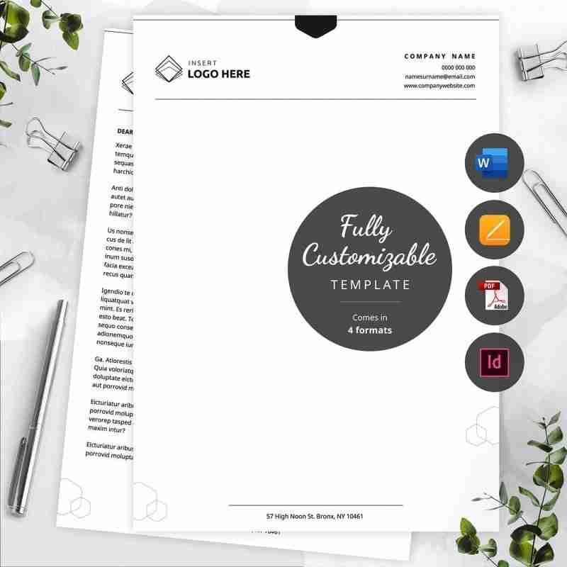 minimalist business letterhead template MS Word