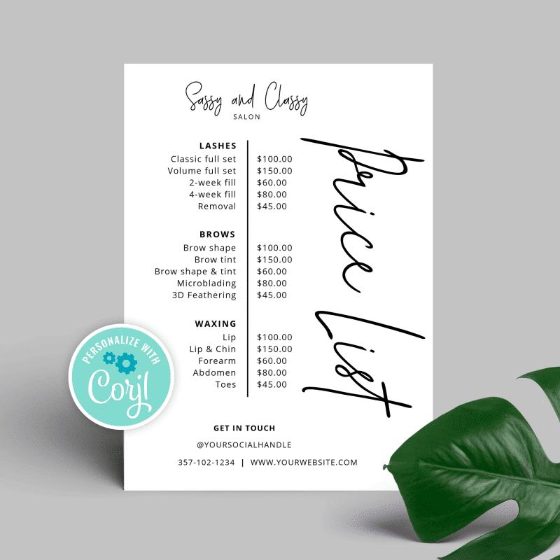 white price menu design