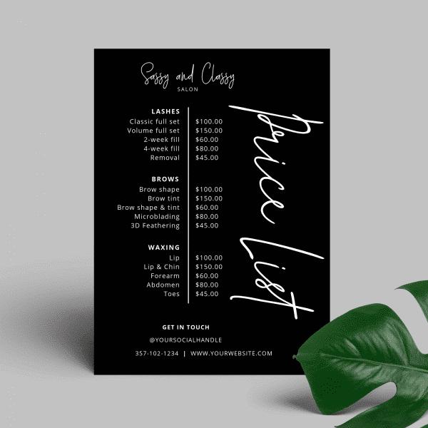 black price list design