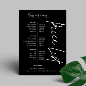 black price list design