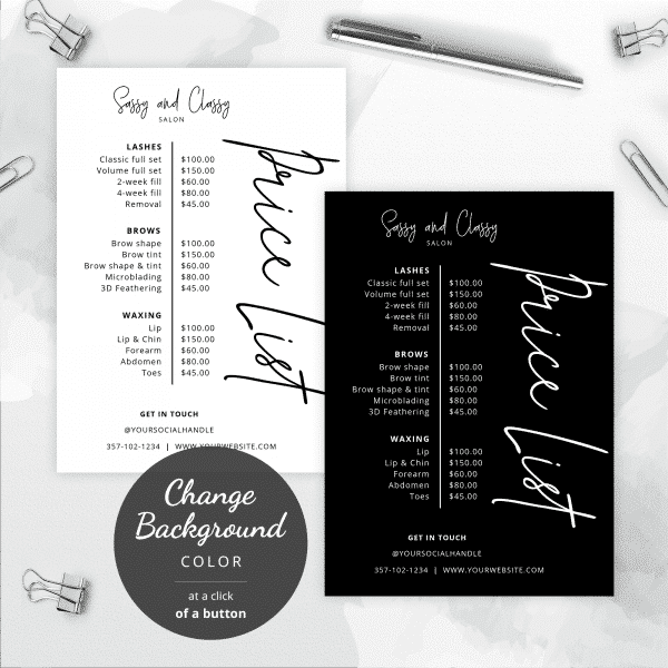 black and white price lists