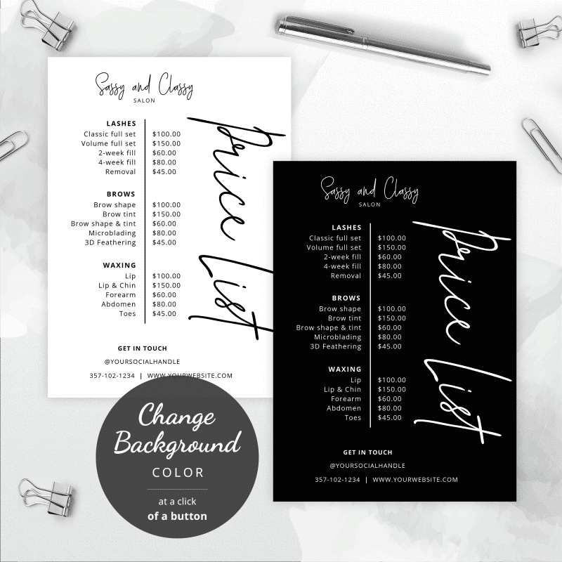 black and white pricing lists
