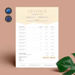 pastel color business invoice template for ms word