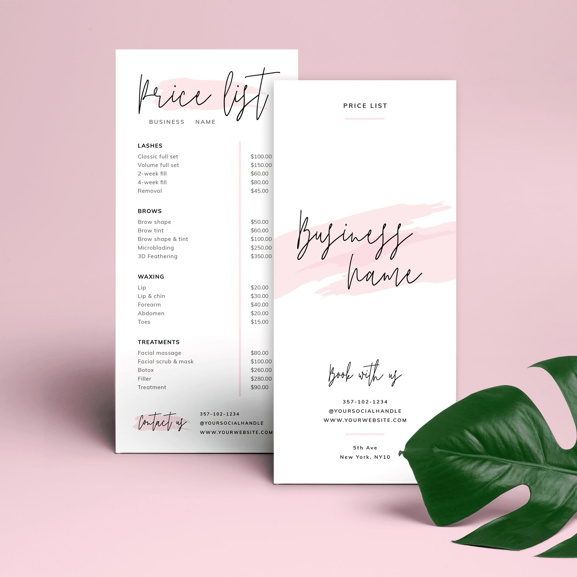 Feminine Price List Template Editable Beauty Pricelist Pink Watercolor