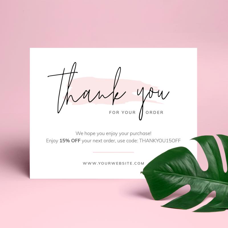 pink watercolor customer thank you card