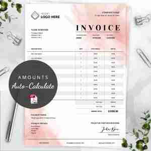 pink watercolor invoice template pdf with auto calculation