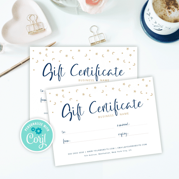 celestial business gift certificate template