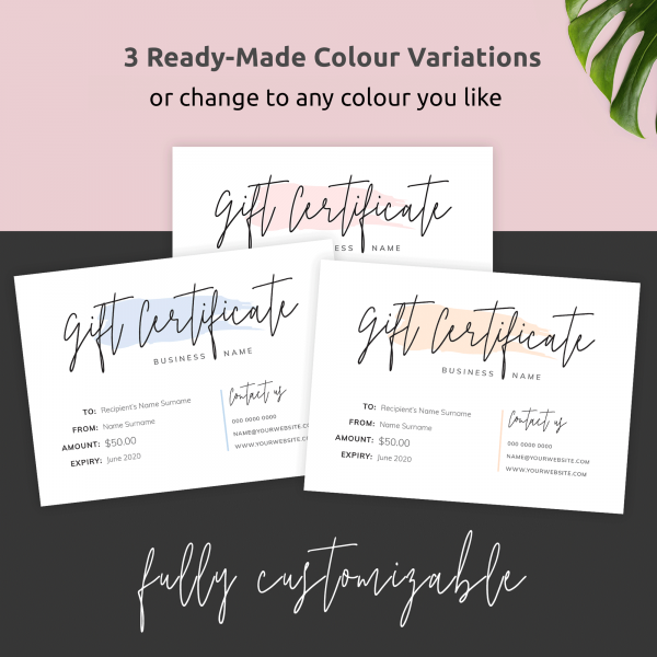 three colours gift certificate template