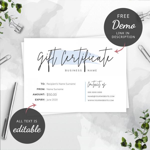 editable gift certificat etemplate