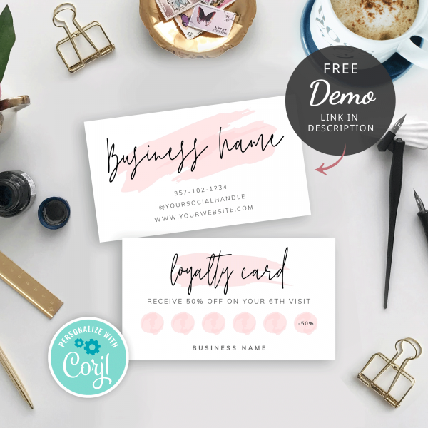 pink loyalty card template