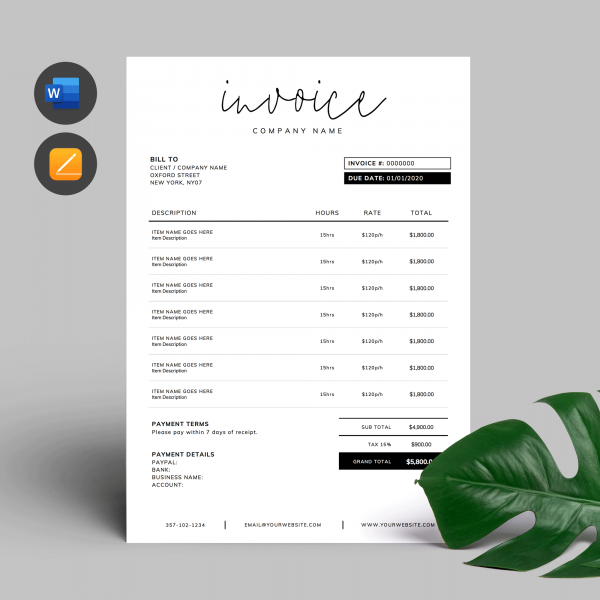 Invoice Template Word and Apple Pages