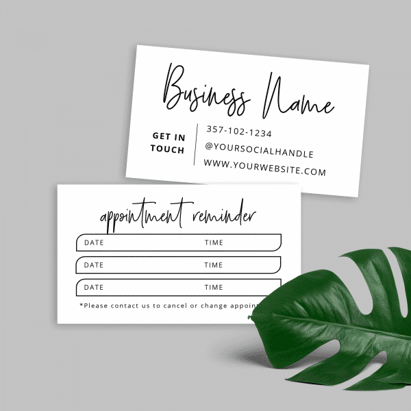 minimalist charcoal color appointment card template