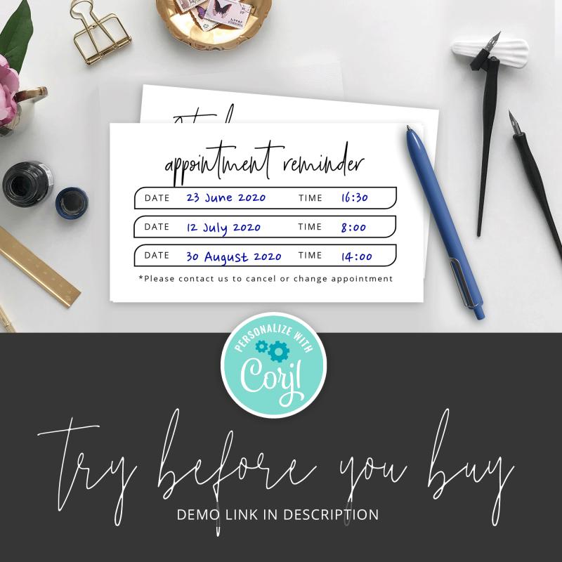 booking reminder card