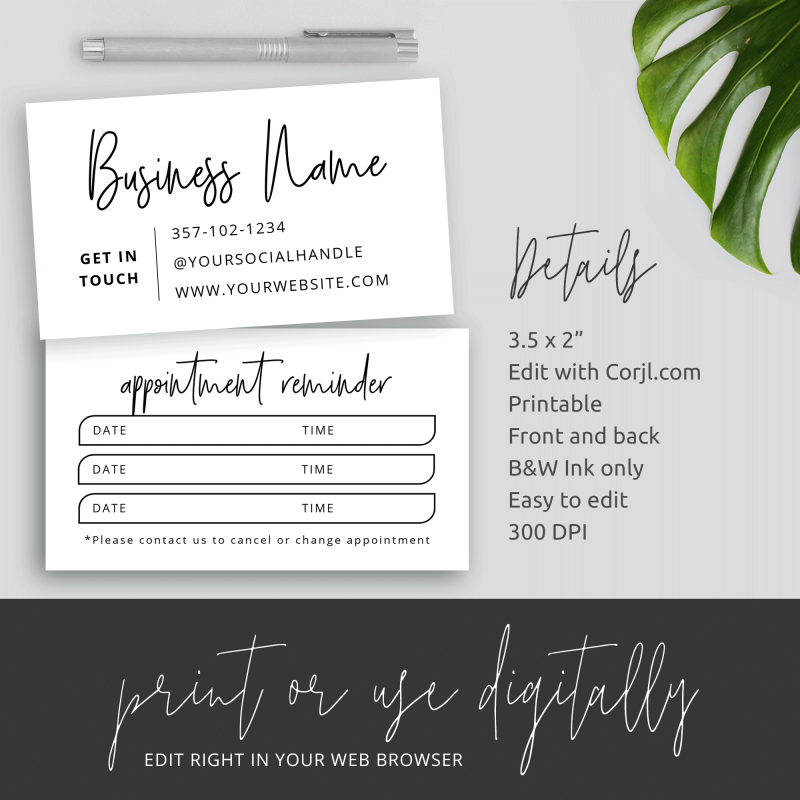 beauty salon appointment card