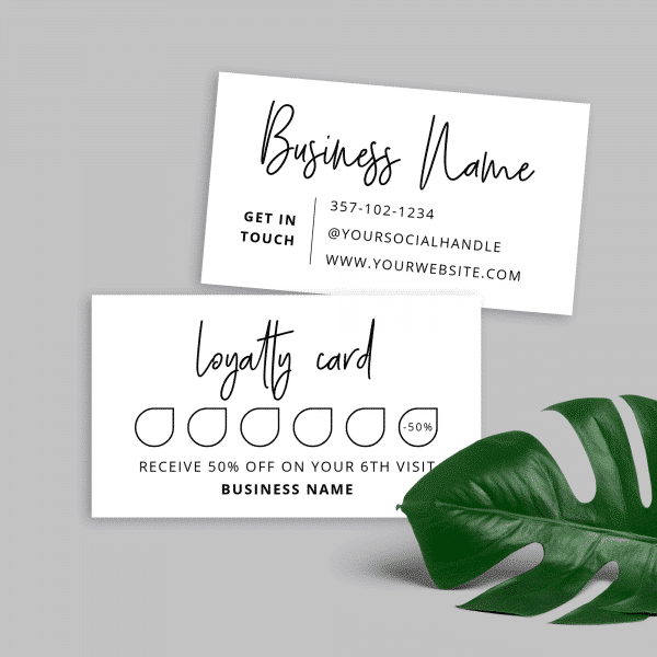 minimalist loyalty card template