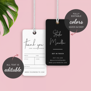 minimalist charcoal hang tag