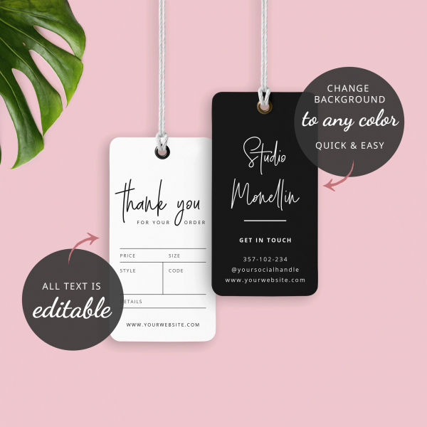 black and white hang tag template