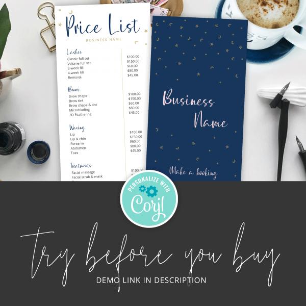 blue pricelist design