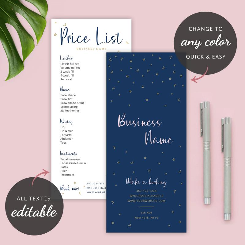 price list design