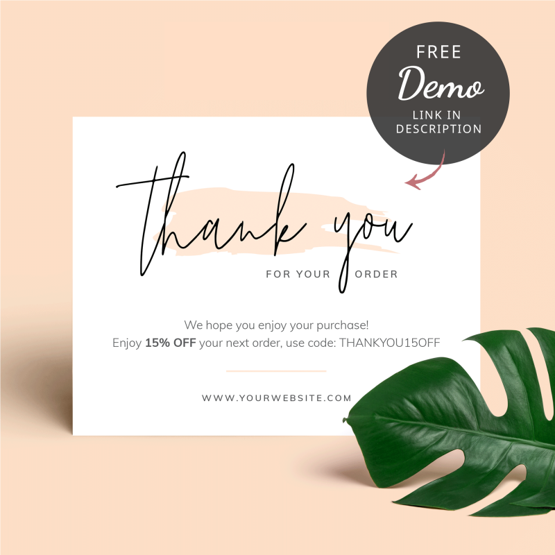 cream thank you for order cards